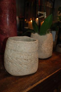 cache pot ou vase, imitation jute