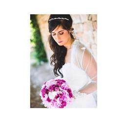 Une bouquet de mariée rond