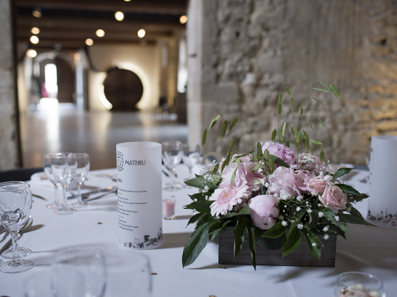 centre de table mariage avec pivoine