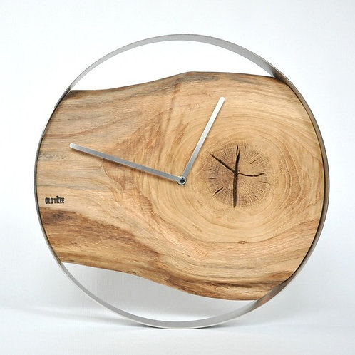 Zegar LOFT - dębowy - stalowa obręcz - 40 cm