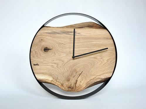 Zegar LOFT - dębowy - czarna obręcz - 40 cm