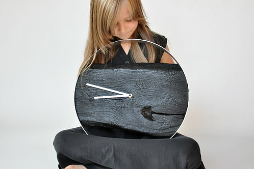 Zegar ścienny LOFT - dębowy Palony - 40 cm