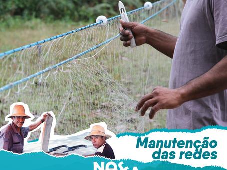 Manutenção das redes de pesca