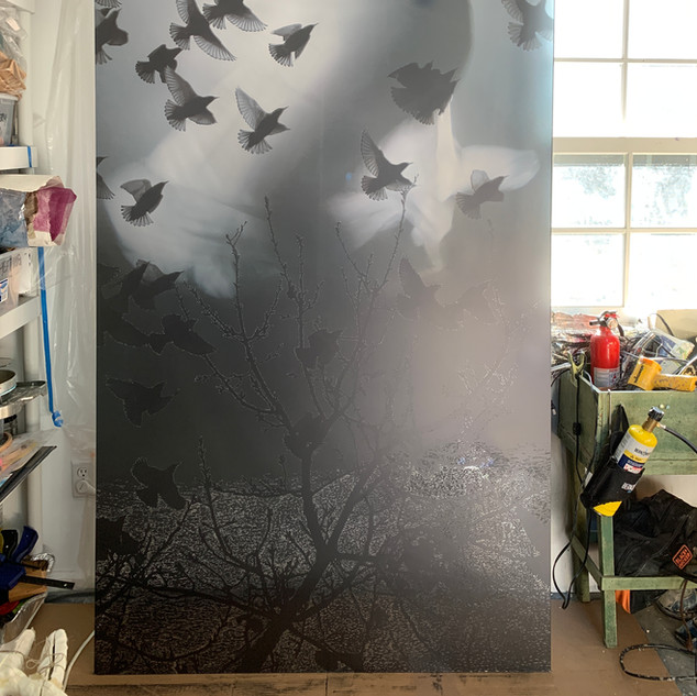 Large scale photo montage print etching