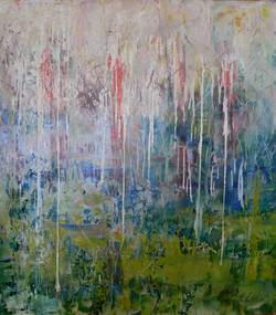 Water Lillies, oil and encaustic on pane