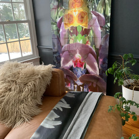 Large scale acrylic print and cashmere and silk blanket, both Submerged Garden Series