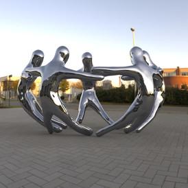 Unity Sculpture rendering, 6 feet stainless Steel