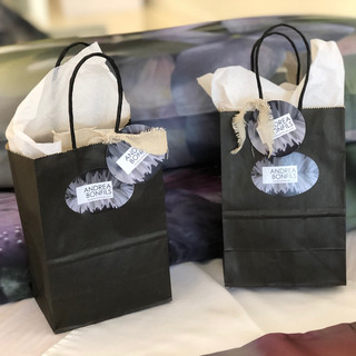 Gift Bags (front), (behind) King pillow cases, Sanctuary and Rhapsody