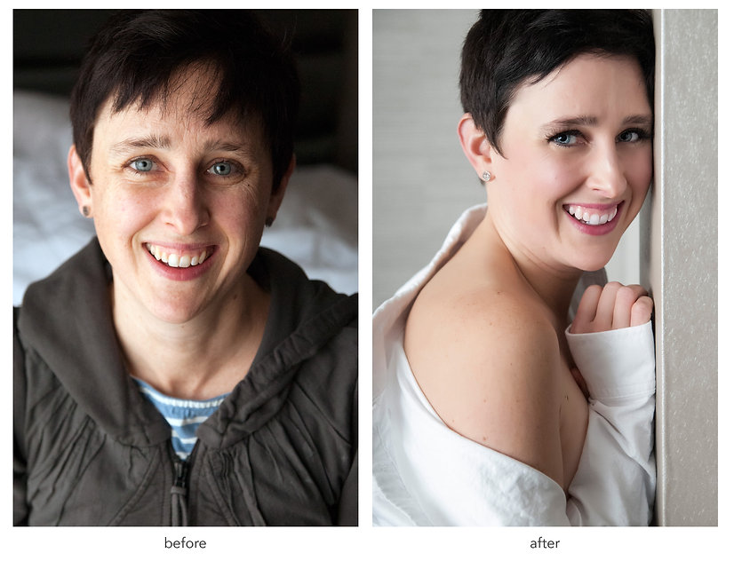 short haired women wearing a brown coat looking at camera. short haired women in off shoulder white shirt looking at the camera