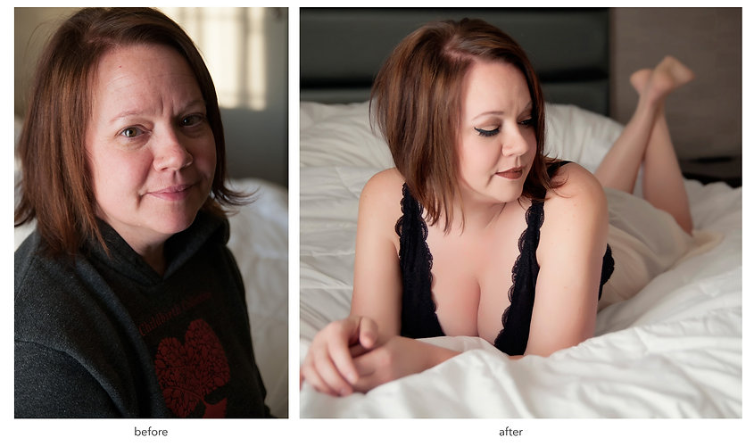women in grey sweatshirt with red heart looking at camera. women lying on bed in black camisole looking down to the side