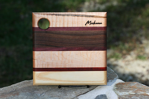 "Walnut, Purpleheart, Curly Maple, Ash and Padauk Serving Board- 10""x10"""