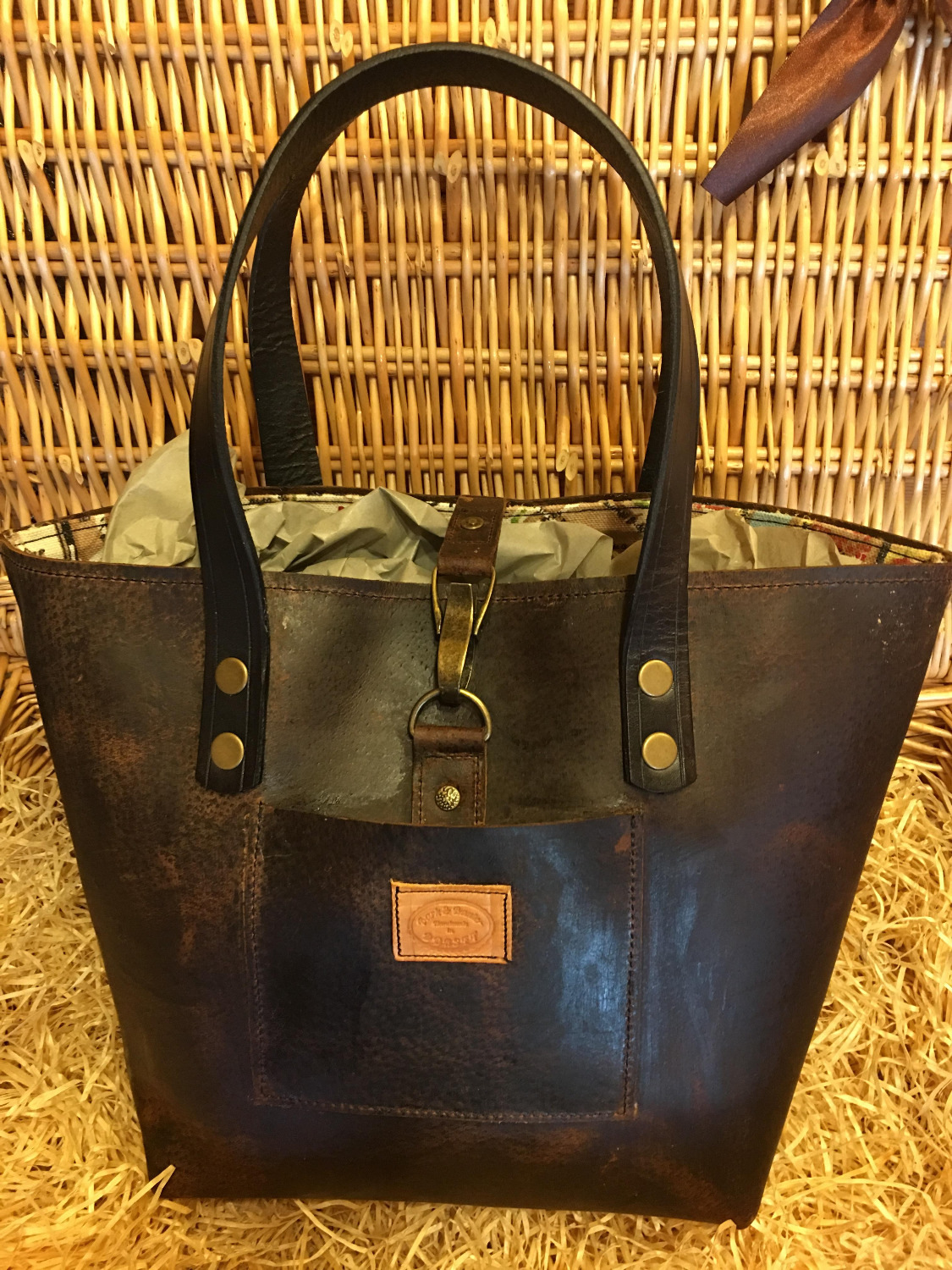 hand made leather city shopper