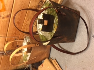 hand made leather bucket bag