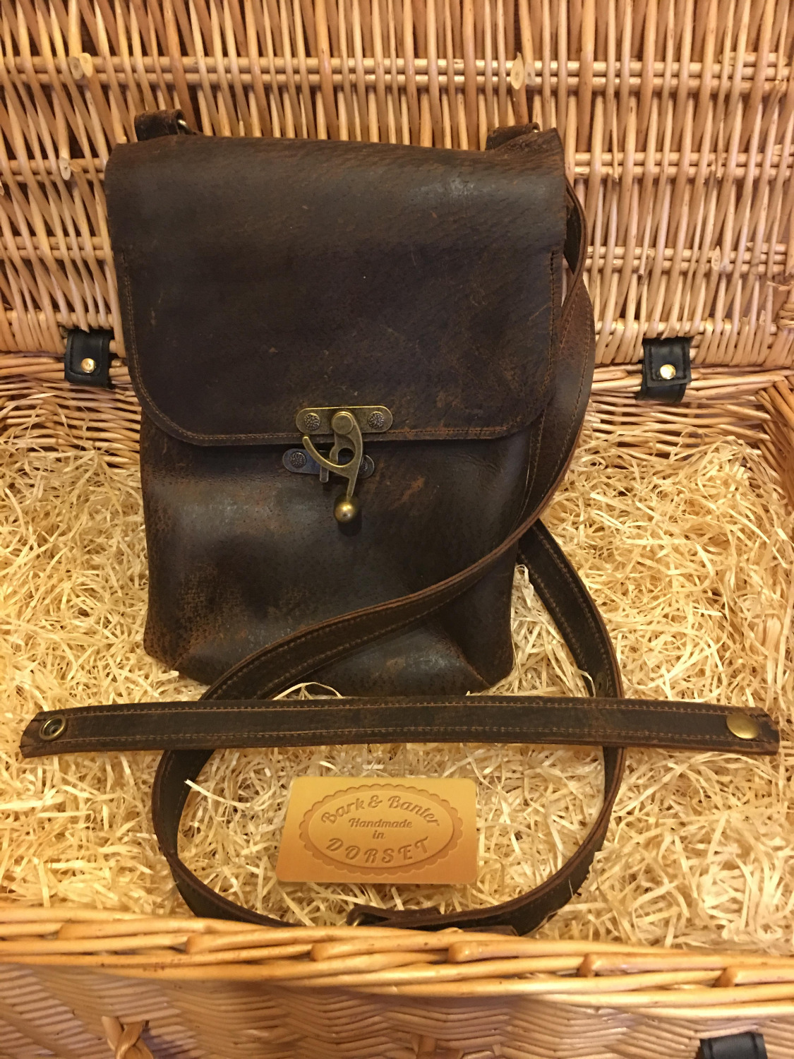 hand made leather manbag