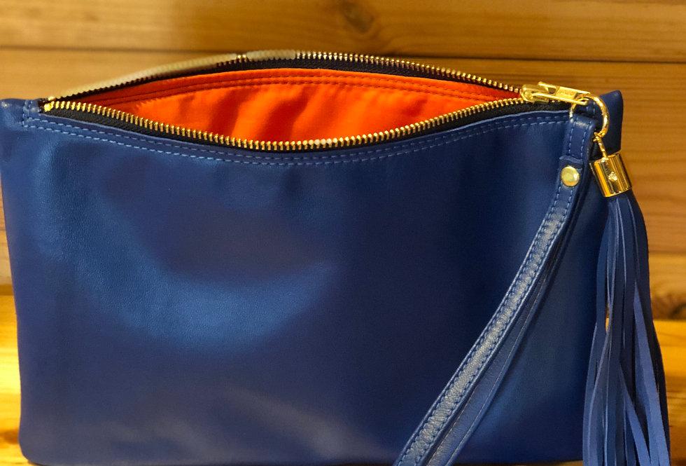 CLUTCH BAG - COBALT BLUE NAPA LEATHER