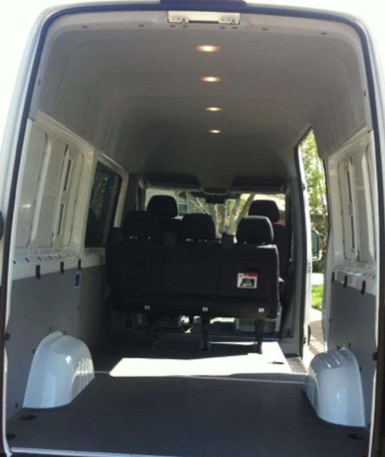 Pre converted interior of a Sprinter 250