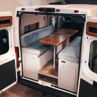 Wide shot interior converted RAM Promaster 1500