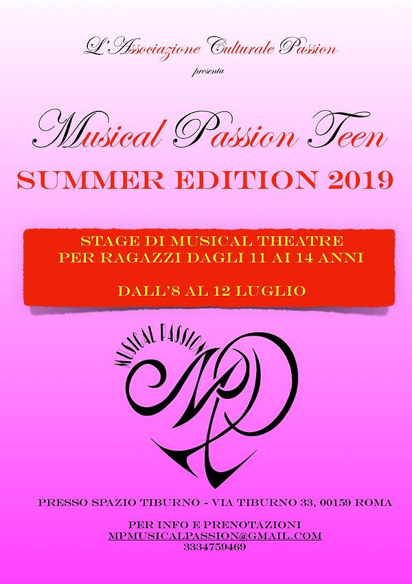 LOCANDINA MUSICAL PASSION TEEN SUMMER ED