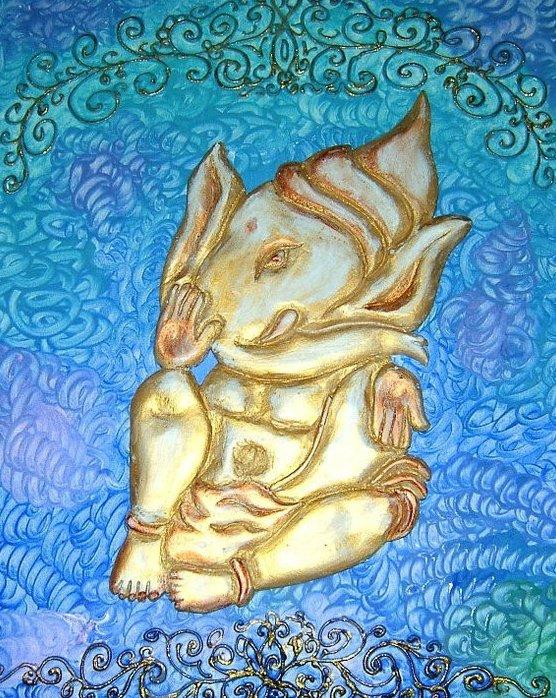 """Bas Relief Ganesha on canvas,20""""x24"""""""