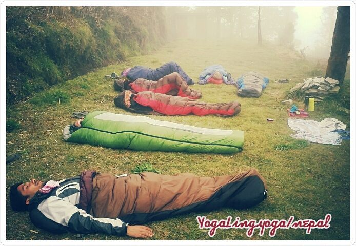Sleeping Bag Savasana after big trek
