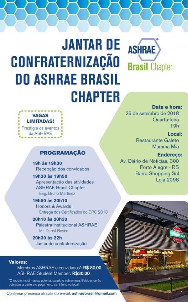 ASHRAE BRASIL CHAPTER DINNER MERCOFRIO 2018