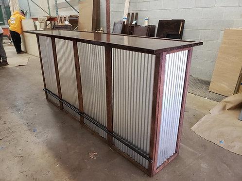 Home Bar Furniture 72x24x42, Corrugated Metal