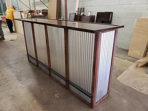 Home Bar Furniture 96x24x42, Corrugated Metal