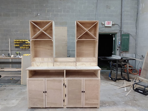 Deluxe back bar, 96x18x36, cabinet doors, shelving with wine bottle storage