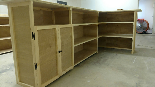 Cabinet doors over main shelving area