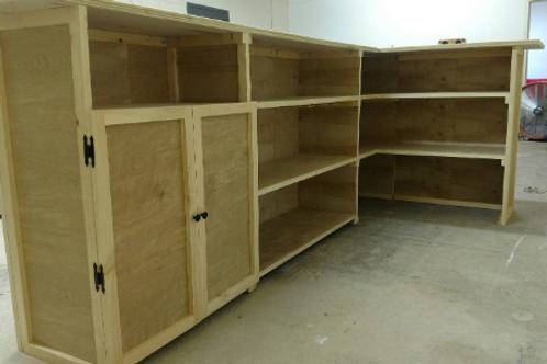Cabinet doors over main shelving area