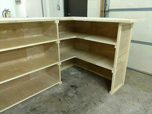 Extra shelving behind bar's side extension