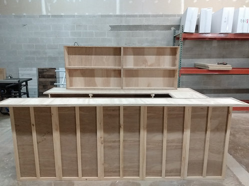 Deluxe 10 foot bar with 3 foot side bar and back bar countertop, shelving hutch