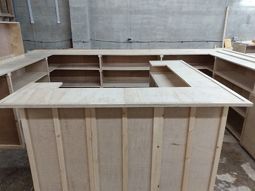 """Home Bar Furniture, 72x24x42 & 36"""" Side Ext, Bartending level and Serving Levels"""