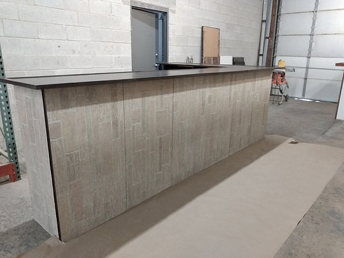 """Home Bar Furniture, 120x24x42 & 36"""" Side Extension, Seats 8, Faux Stone Exterior"""