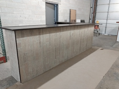 "Home Bar Furniture, 120x24x42 & 36"" Side Extension, Seats 8, Faux St"