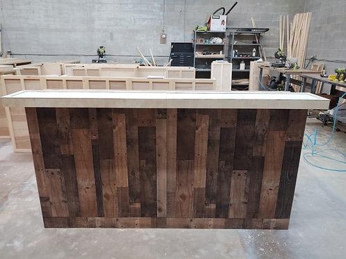 Home Bar Furniture 96x24x42, Faux Barnwood Exterior, Multi Level Bar Top