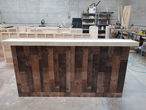 Home Bar Furniture 120x24x42, Faux Barnwood Exterior, Multi Level Bar Top