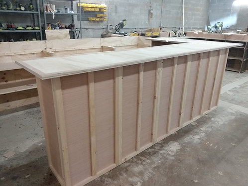 Home Bar Furniture 120x24x42 with 36x24x42 Side Extension