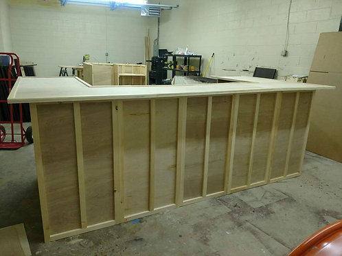 Home Bar Furniture 120x24x42 with (2) 36x24x42 Side Ext(s)