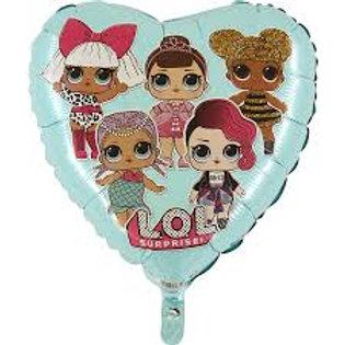 Balão Lol Surprise Coração azul