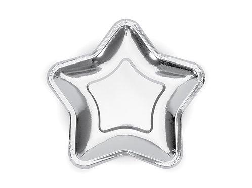 Pratos Estrelas Prateado 18cm