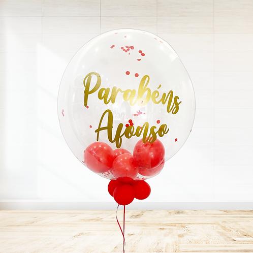 Balão Personalizado Vermelho e Dourado
