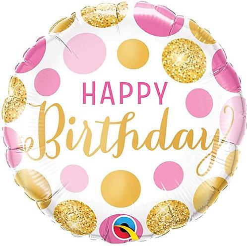 Balão Happy Birthday Bolas Rosa e Dourado
