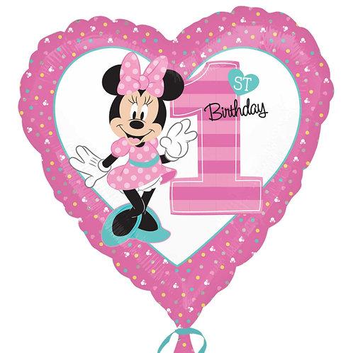 Balão Minnie 1 ano Coração