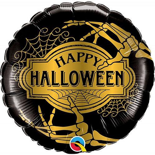 Balão Happy Halloween Preto e Dourado