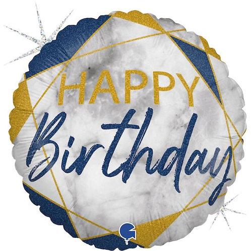 Balão Happy Birthday Mármore Azul