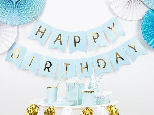 Bandeirola Happy Birthday Azul