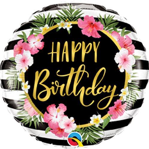 Balão Happy Birthday Hibiscus 46cm