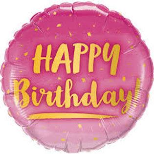 Balão Happy Birthday Rosa e dourado