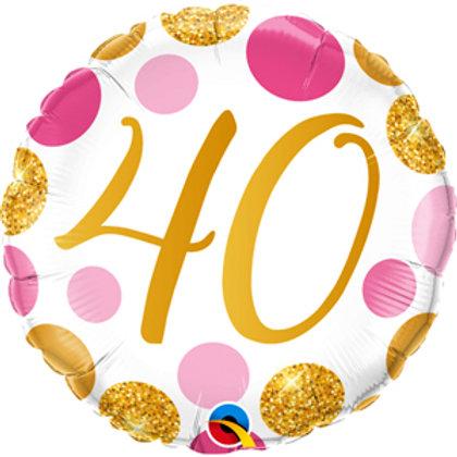 Balão 40 Bolas dourado e rosa